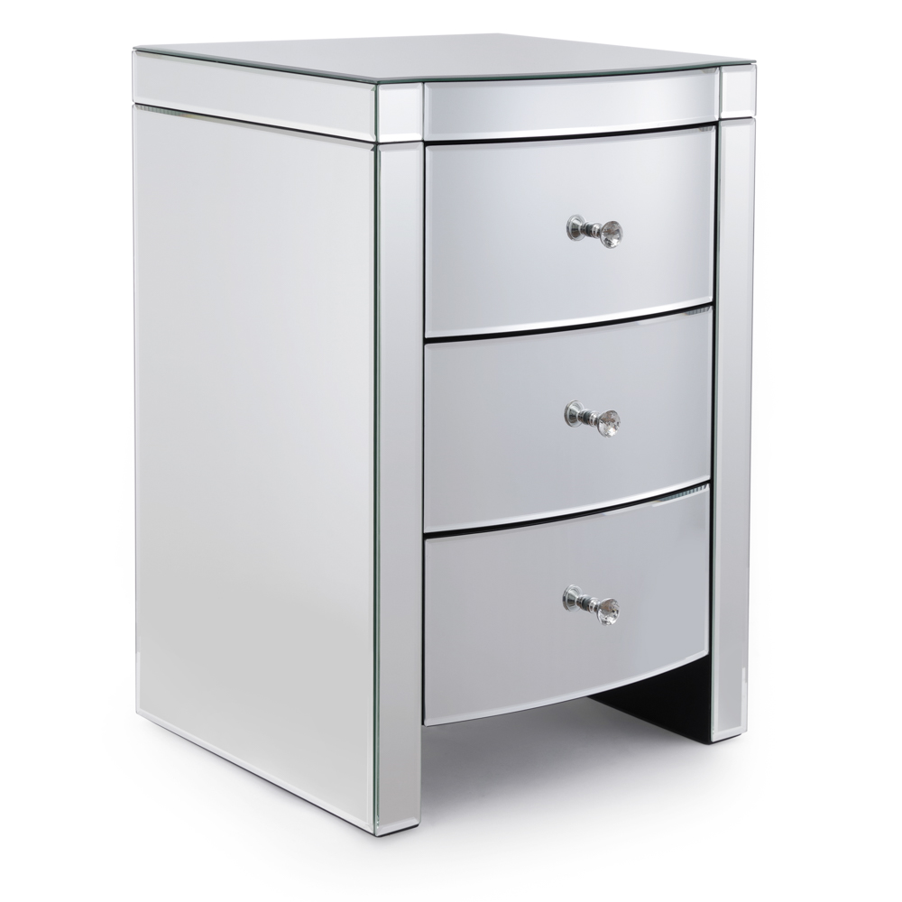 Layla Curved Mirrored Bedside Table