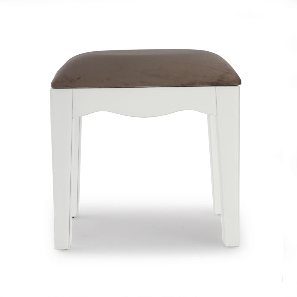 Madison White Glass Dressing Table Stool