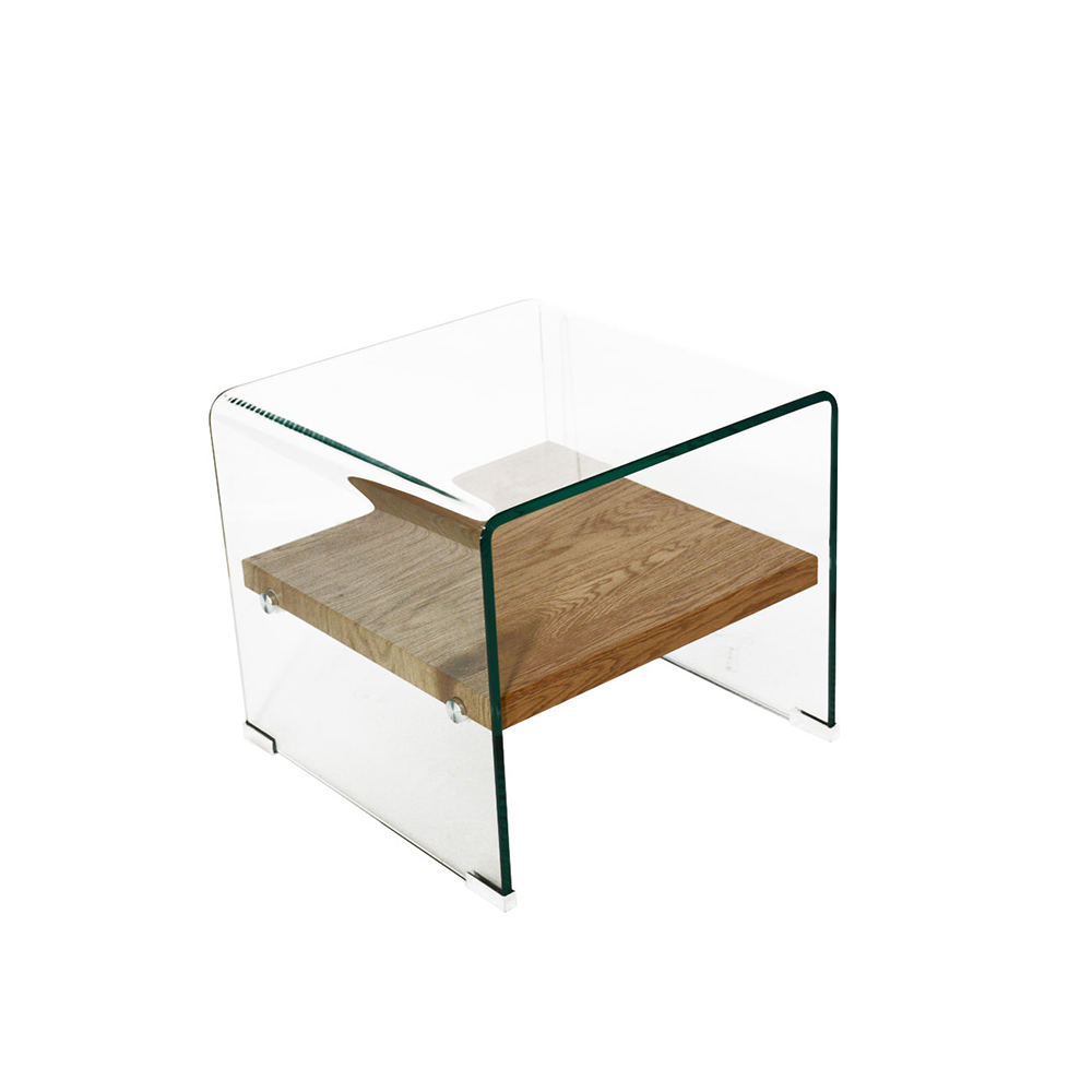 Minimalist Style Tempered Glass Side Table