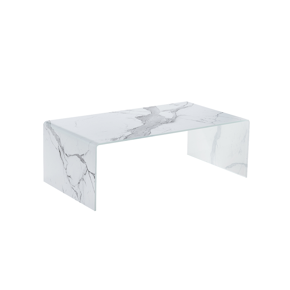 Marble EffectTempered  Glass Coffee Table
