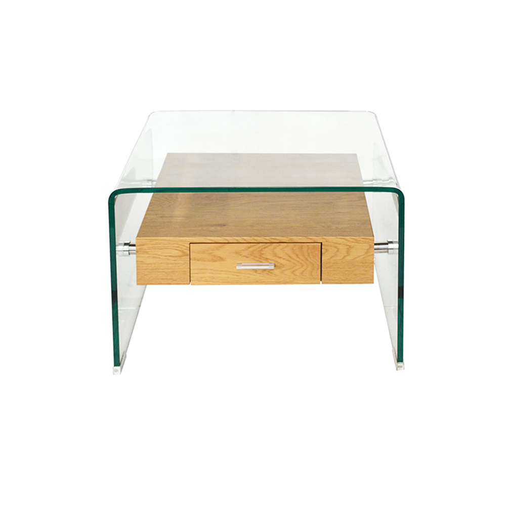 MinimalistStyle Tempered Glass Side Table with Drawer