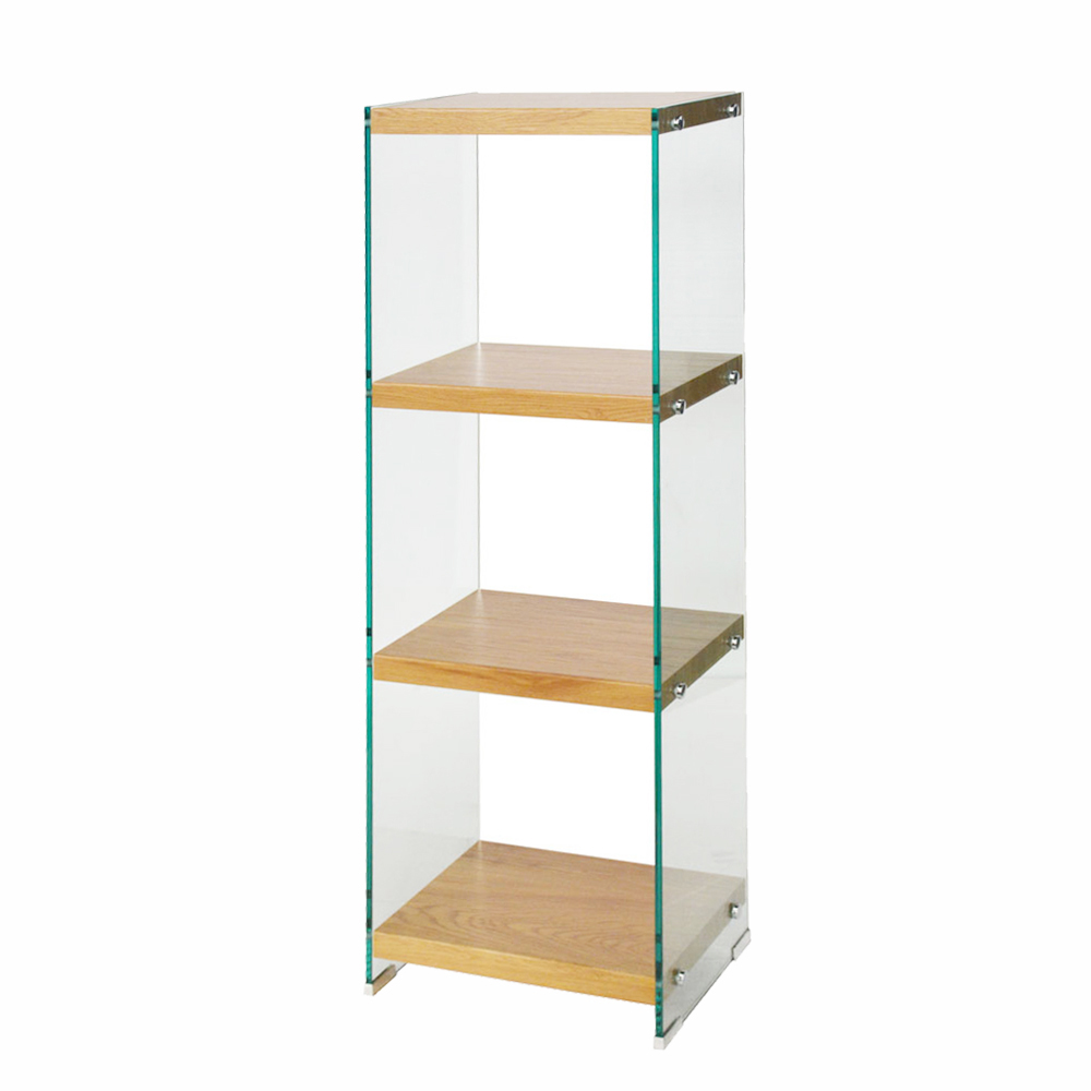 Minimalist Style Tempered Glass Book Shelf