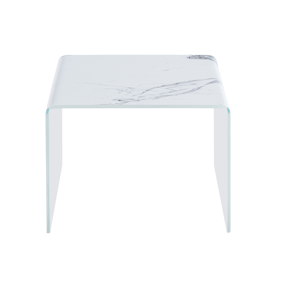 Marble Effect Tempered Glass Side Table